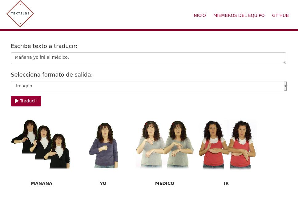 Ejemplo de traducción de castellano a LSE